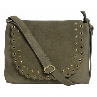Cow Suede Grey Cross-body Genuine Leather Bag for Girls-2007-front