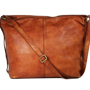 Tan Genuine Leather Hobo Bag For Women-2044-back