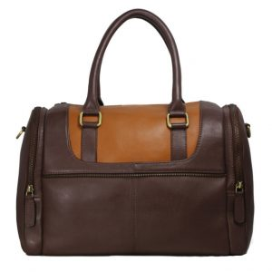 Dark Brown Leather Duffel Bag For Men-B-182-back
