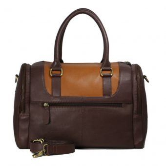 Dark Brown Leather Duffel Bag For Men-B-182-front with ls