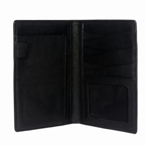 Bifold black goat kid leather card holder-inside