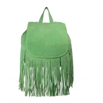 Parrot Green Drawstring Leather Backpack-0022-front (leathermanfashion)