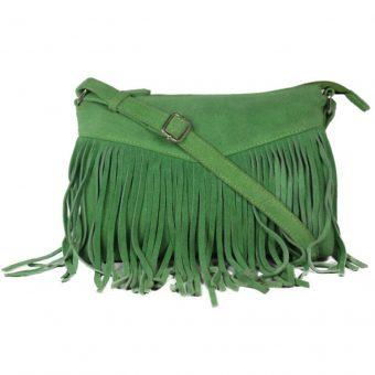 Genuine Leather Dark Green Handbag For Weekend-0023 front