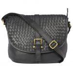 Genuine Leather Black Sling Bag-00745A front (leathermanfashion)