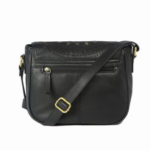 Genuine leather black cross body saddle-2010 back