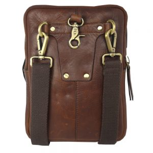 Multifunctional: Cross Body / Belt Pouch Brown Men's Leather Bag 2026 back side