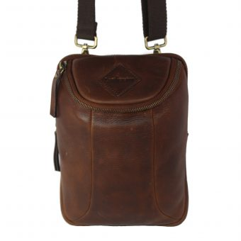 Multifunctional: Cross Body / Belt Pouch Brown Men's Leather Bag 2026 front side
