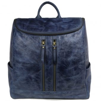 Beautiful Blue Leather Backpack For Men 2027 front (leathermanfashion)