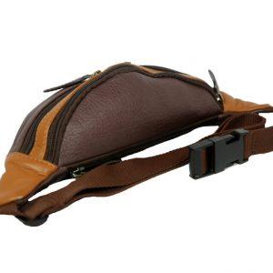 Beige Dark Brown Mens Genuine Leather Belt Bag laydown (leathermanfashion)