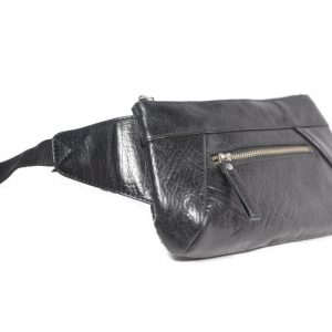 Genuine Leather Black Belt Bag-B200-laydown (leathermanfashion)