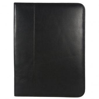 Genuine Leather Black Zip A4 Folder-IT 1737 001 front (leathermanfashion)