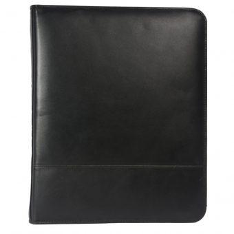 Genuine Leather Black Notepad File Folder IT 1737 002 front (leathermanfashion)
