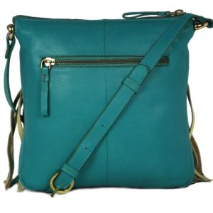 Frill Style Turquoise Sling Bag For Girls-NR0012 back (leathermanfashion)