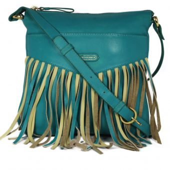 Frill Style Turquoise Sling Bag For Girls-NR0012 front (leathermanfashion)