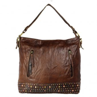Women's Brown Leather Hobo Bag-NR0040 Front (leathermanfashion)