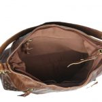 Women's Brown Leather Hobo Bag-NR0040 In Side (leathermanfashion)