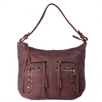 Burnish Wash Pink Leather Handbag-NR0051 (front (leathermanfashion)