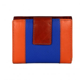 Loop and small flap with snap button multi colour leather purse-ST 105934 F