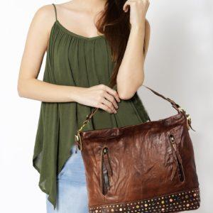 Women's Brown Leather Hobo Bag