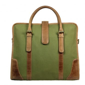 Men's Hand Bag In Canvas and leather -CV001 front (leathermanfashion)