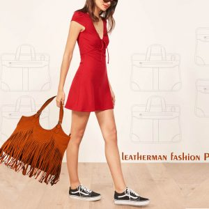 Leather Bags, Genuine Leather Fringes Orange Handbag-nr7 front (leathermanfashion)