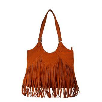 Genuine Leather Fringes Orange Handbag-nr7 front (leathermanfashion)