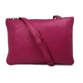 Dark Pink Leather Slingbag For Girls 1503 front (leathermanfashion)