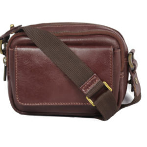 Brown leather crossbody for men 2023 back (leathermanfashion)