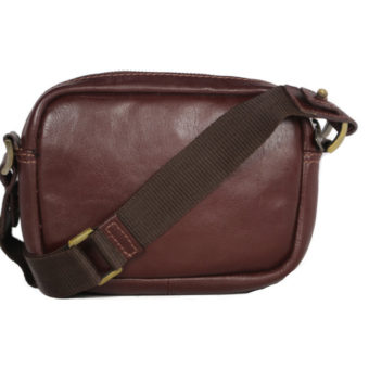 Brown leather crossbody for men 2023 front (leathermanfashion)