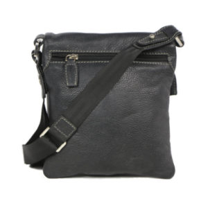 Men's Black Leather Messenger Bag 2359 back (leathermanfashion)
