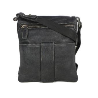 Men's Black Leather Messenger Bag 2359 front (leathermanfashion)