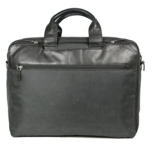 Men's Black Leather Briefcase 670 back (leathermanfashion)