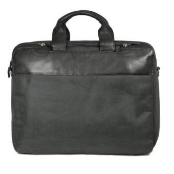 Men's Black Leather Briefcase 670 front (leathermanfashion)