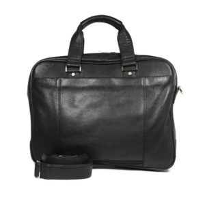 Black Leather Laptop Briefcase 8960 back (leathermanfashion)