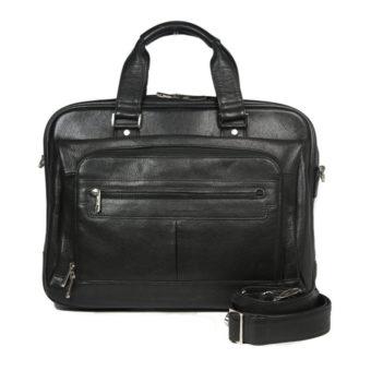 Black Leather Laptop Briefcase 8960 front (leathermanfashion)