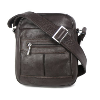 Brown Men's Leather Cross Body 8968 front (leathermanfashion)