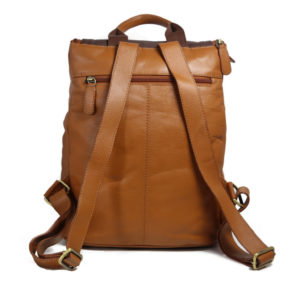 Brown Beige Men's Leather Backpack NN100 back (leathermanfashion)