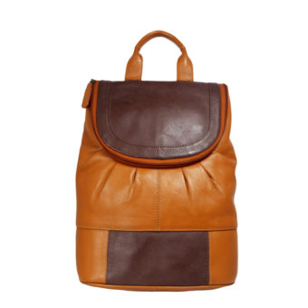 Brown Beige Men's Leather Backpack NN100 front (leathermanfashion)