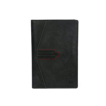 Bi Fold Black Leather Card Holder NR-1031 front (leathermanfashion)