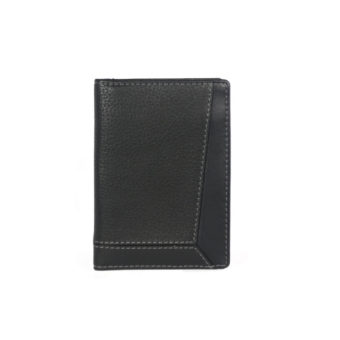 Bifold Black Leather Card Holder NR-1050 front (leathermanfashion)