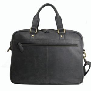 Black Leather Laptop Bag 104 back (leathermanfashion)