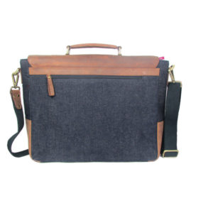 Cognac Denim Blue Satchel 2016 back (leathermanfashion)