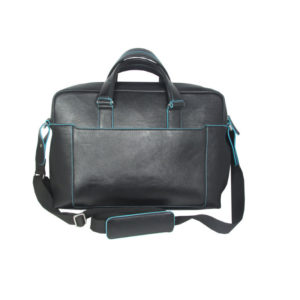 Black Leather Briefcase Bag 2062 back (leathermanfashion)