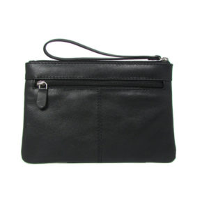 Black Designer Clutch Wristlet 2145 back (leathermanfashion)