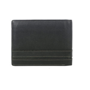 Bifold Black Men's wallet 614838 back (leathermanfashion)
