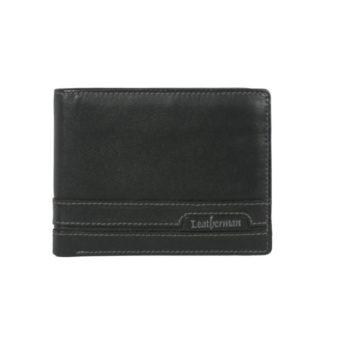 Bifold Black Men's wallet 614838 front (leathermanfashion)