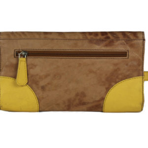 Turn Lock Tan Yellow Leather Clutch B25 back (leathermanfashion)