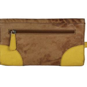 Turn Lock Tan Yellow Leather Clutch B25 back (leathermanfashion)