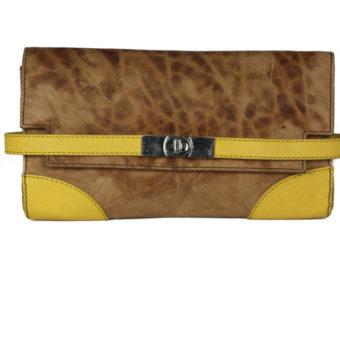 Turn Lock Tan Yellow Leather Clutch B25 front (leathermanfashion)