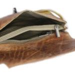 Turn Lock Tan Yellow Leather Clutch B25 inside (leathermanfashion)